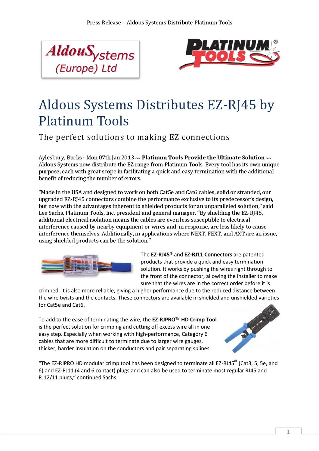 Platinum Tools Press Release By Jason Aldous Issuu The Wiring Of Conductors To Rj45 Has Also Been Established