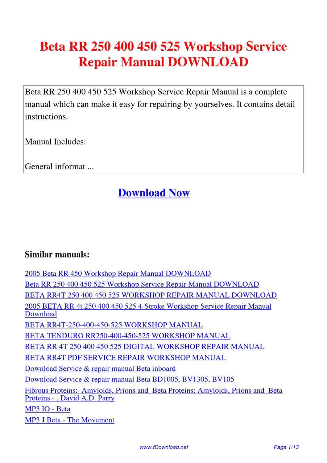 Beta_RR_250_400_450_525_Workshop_Service_Repair_Manual by Sam Lang - issuu