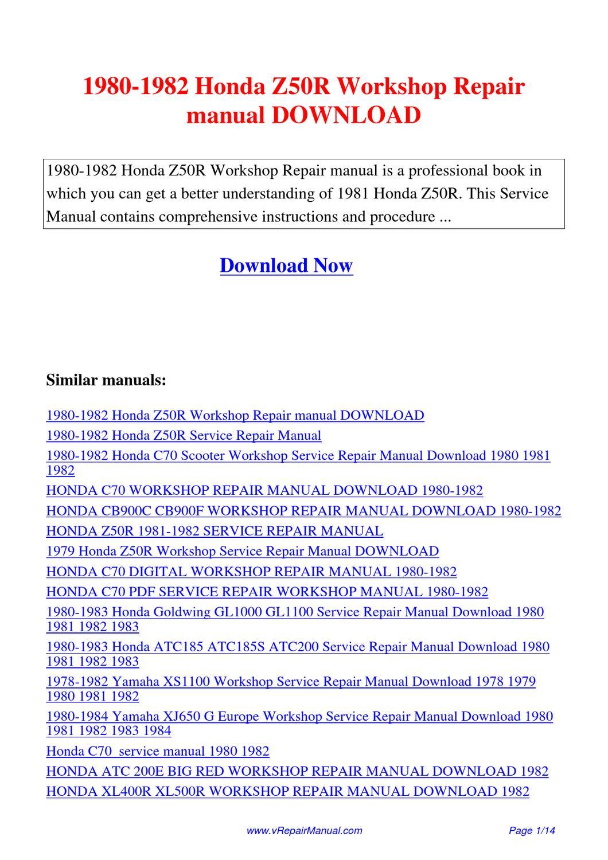 1980 1982 Honda Z50r Workshop Repair Manual By Yuan Wang border=