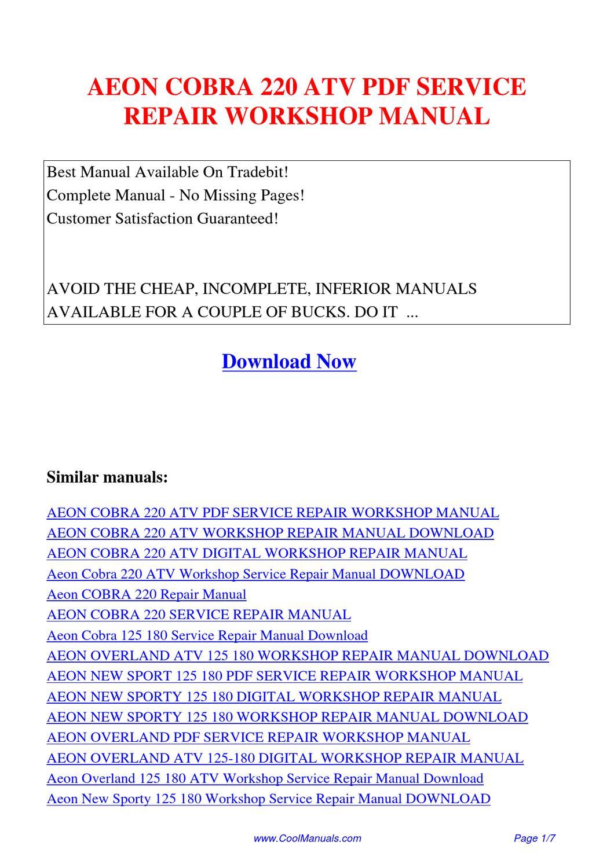 AEON_COBRA_220_ATV_SERVICE_REPAIR_WORKSHOP_MANUAL