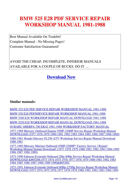 Bmw 525 E28 Service Repair Workshop Manual 1981