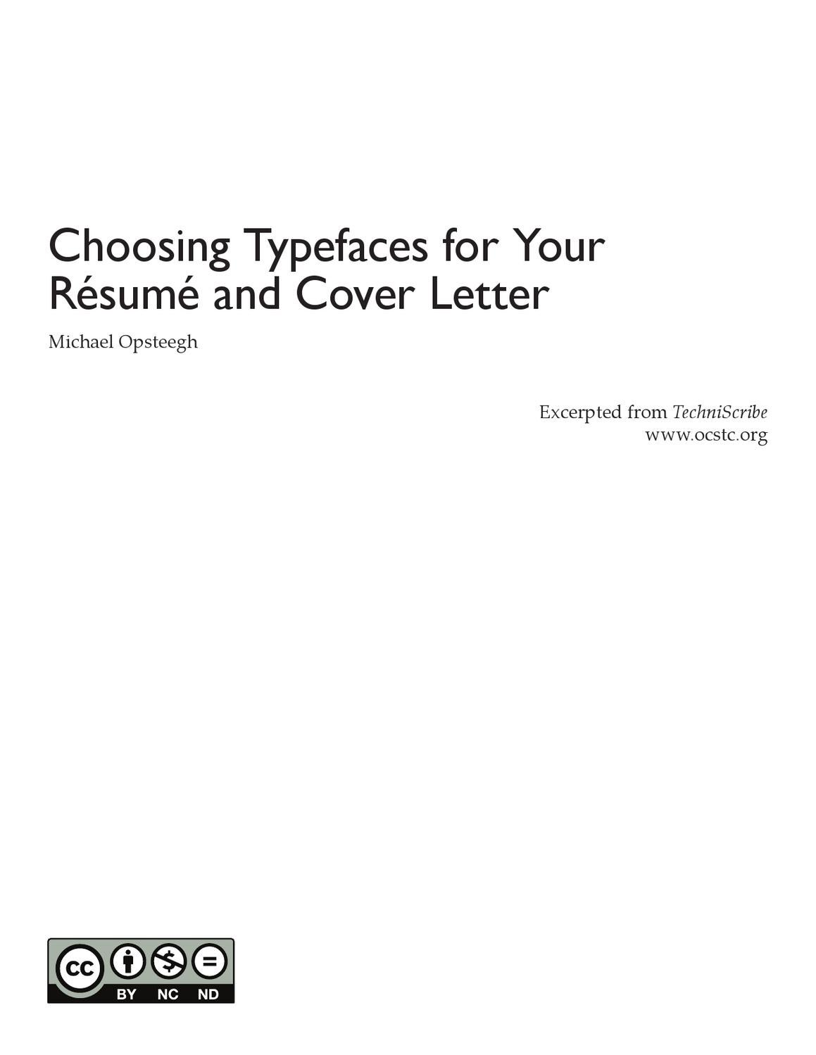 Choosing Typefaces For Your Cover Letter And Resume By Michael