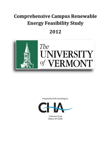 UVM Comprehensive Campus Renewable Energy Feasibility Study ... on