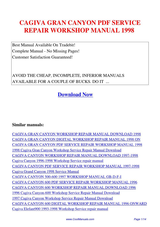 Cagiva Gran Canyon Service Repair Workshop Manual 1998 By