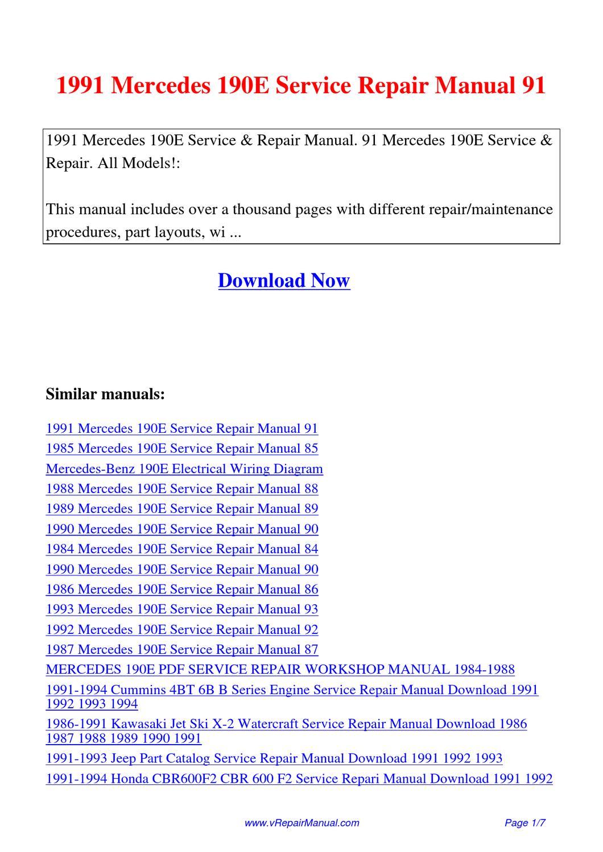 1991 Mercedes 190e Service Repair Manual 91 By Yuan Wang