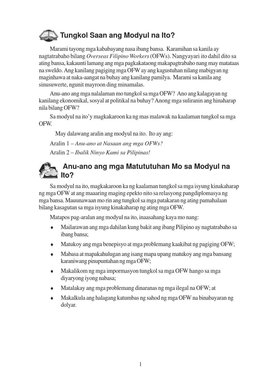 anu ano ang mga suliranin ng mga ofw Suliranin hindi lamang ng malawakan at sapilitang migrasyon kundi ng buong   dokumentado man o hindi, lahat sila ay tinatawag na ofw (overseas filipino.