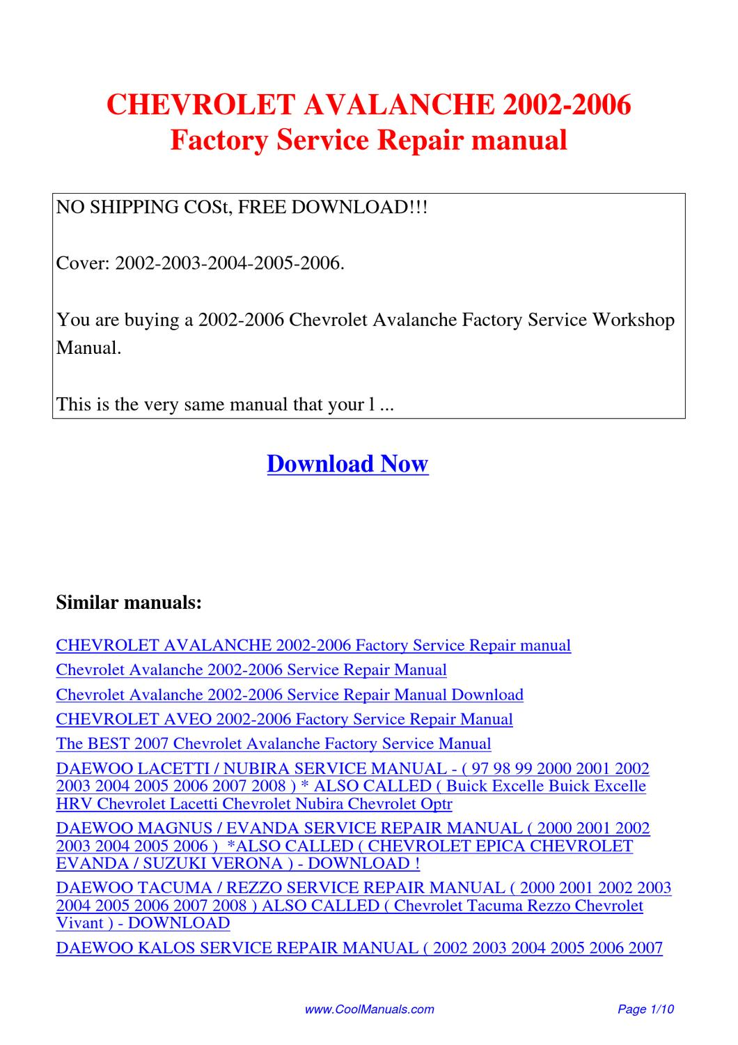 CHEVROLET_AVALANCHE_2002-2006_Factory_Service_Repair_manual by Lan Huang -  issuu