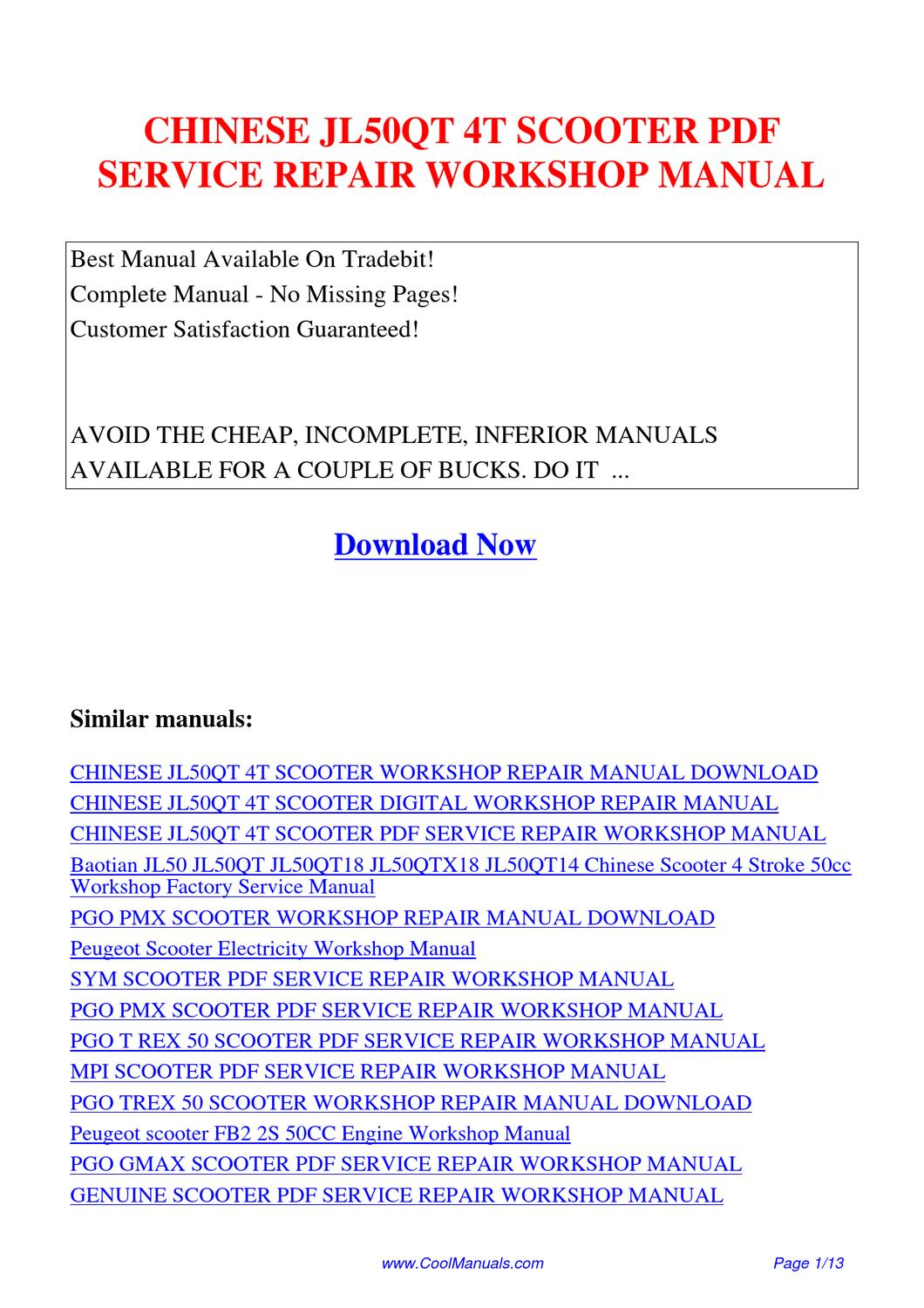 CHINESE_JL50QT_4T_SCOOTER_SERVICE_REPAIR_WORKSHOP_MANUAL by Lan Huang -  issuu