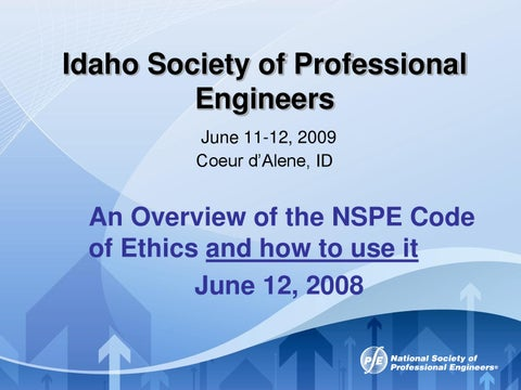 NSPE Code of Ethics by Harold Taylor - issuu