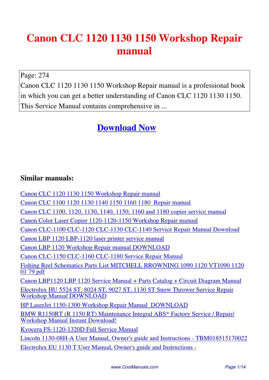 Canon Clc 1120 1130 1150 Workshop Repair Manual By Lan Huang
