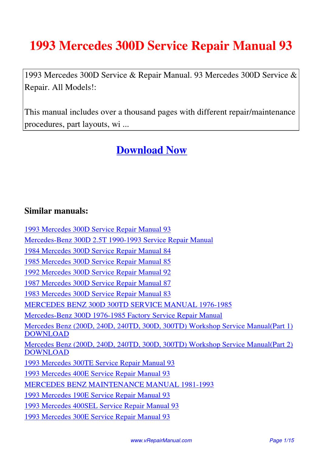 Mercedes Benz 230 1976 1981 Factory Service Repair Manual Auto W115 Wiring Diagram 1993 300d 93 By Yuan Wang