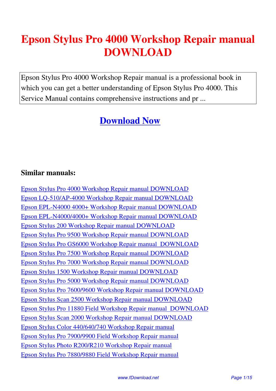 epson stylus pro 4000 workshop repair manual by sam lang issuu rh issuu com Epson Stylus Pro 4000 Specs Epson Stylus Pro 4000 Parts