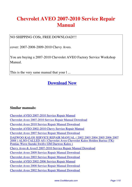 2004 Aveo Repair Manual 20012006 Mitsubishi Pajero Service Workshop Manuals Down Array Chevrolet 2007 2010 By Lan Huang Issuu Rh