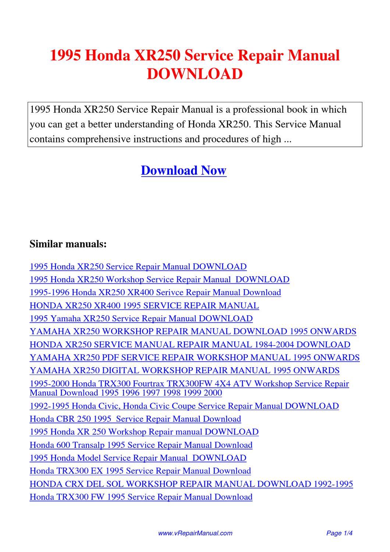 1995 Honda Xr250 Service Repair Manual By Yuan Wang