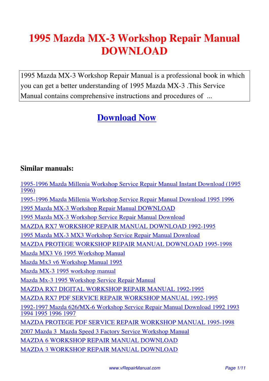 1995 mazda mx 3 workshop repair manual by yuan wang issuu. Black Bedroom Furniture Sets. Home Design Ideas