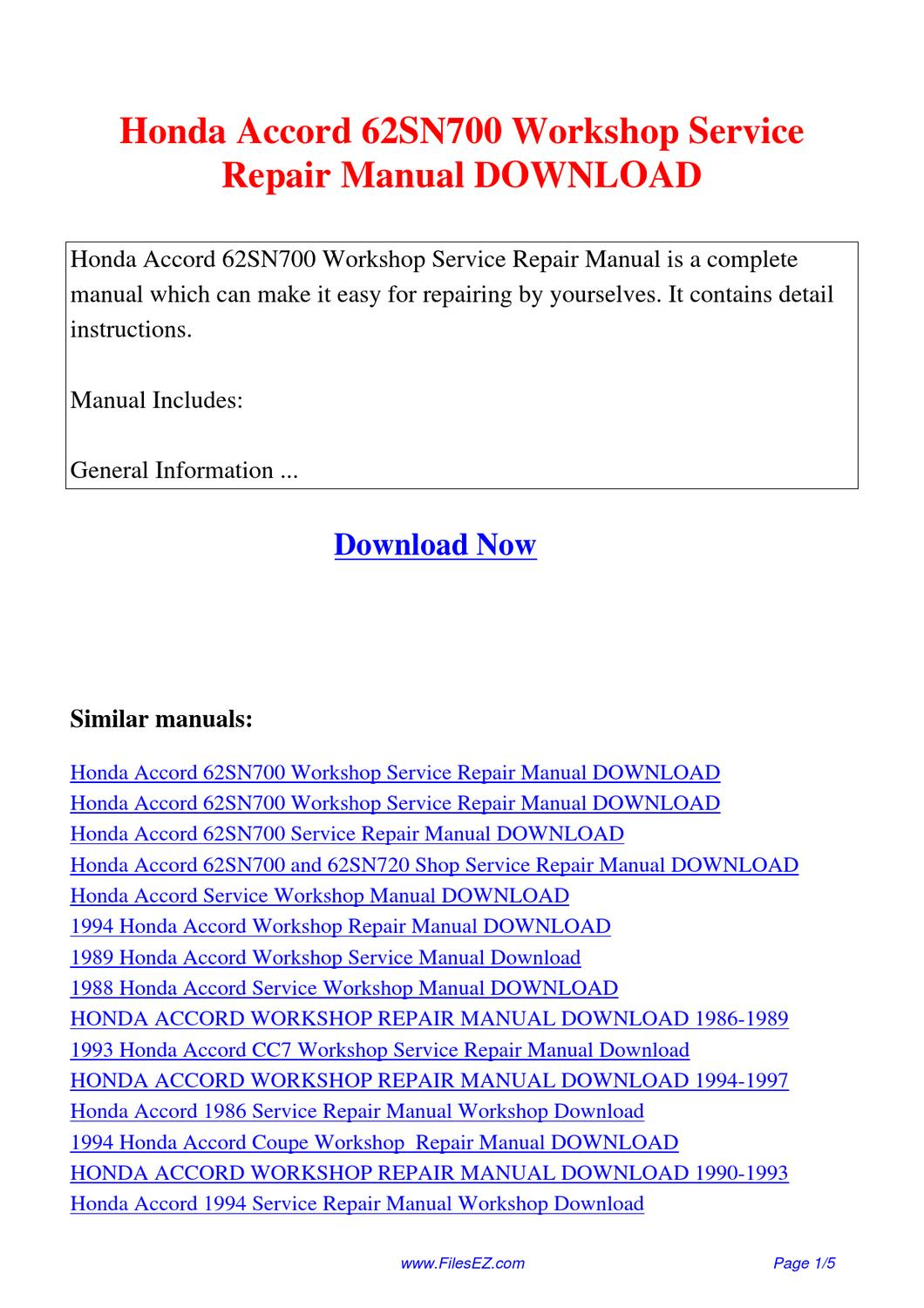 honda accord 62sn700 workshop service repair manual by jingle wong rh issuu com 1998 honda accord service manual pdf 1988 honda accord lxi service manual