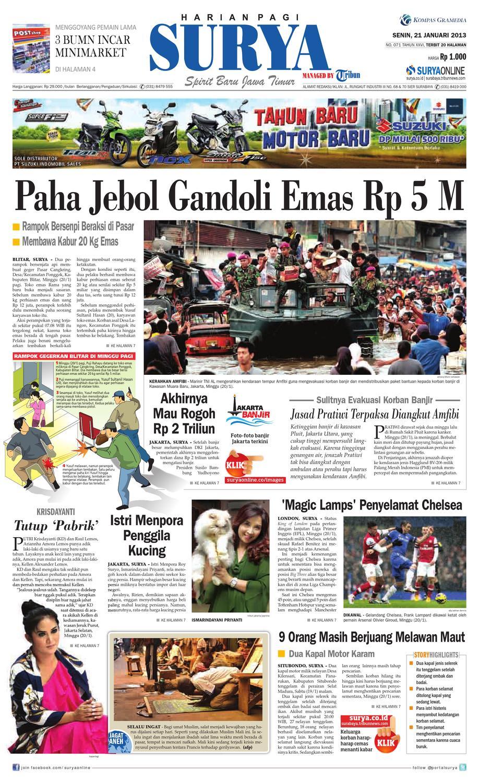 E Paper Surya Edisi 21 Januari 2013 By Harian Issuu Celana Pria Pendek Dry Fit Merah Cln 654