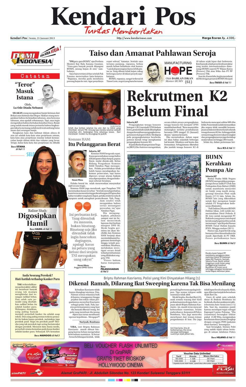 Kendari Pos Edisi 21 Januari 2013 By Kendarinews Issuu Produk Ukm Bumn Segi Empat Leopard