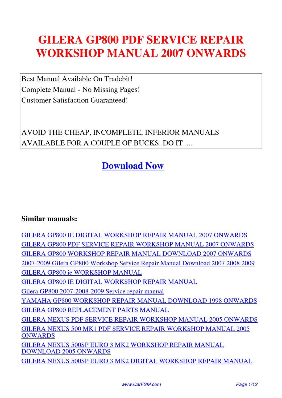gilera gp800 service repair workshop manual 2007 onwards. Black Bedroom Furniture Sets. Home Design Ideas