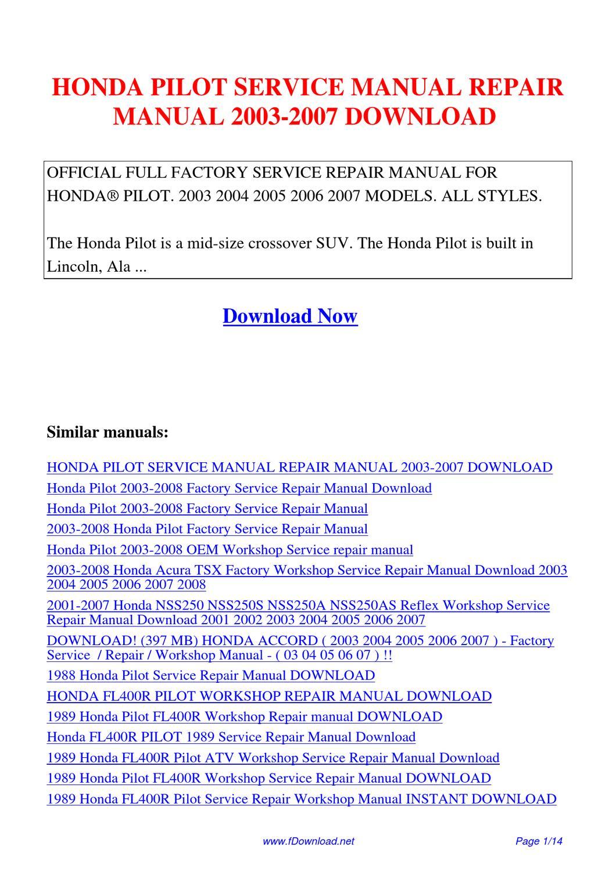 Honda Pilot 2003 Manual Guide