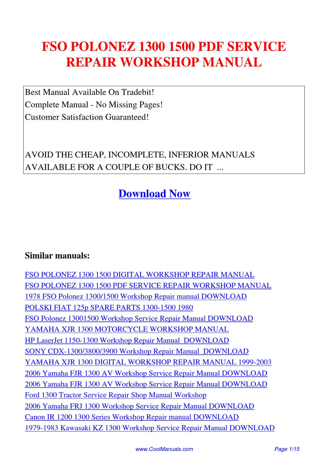 FSO_POLONEZ_1300_1500_SERVICE_REPAIR_WORKSHOP_MANUAL by Lan Huang - issuu