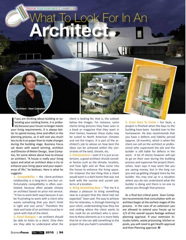 Page 56. Home Improvement Investment. What To Look For In An. Architect
