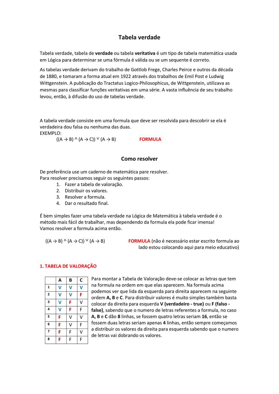 Lógica Matemática Tabela Verdade By Guilherme Dias Issuu