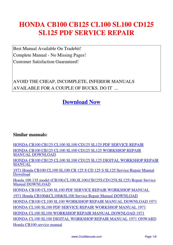 honda cb125 cb175 cl125 cl175 motorcycle service repair manual download
