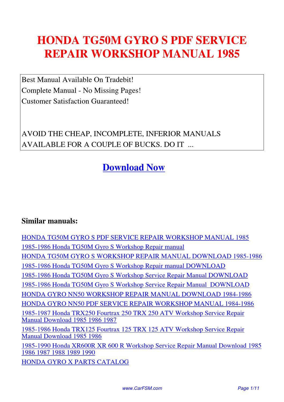 Honda_tg50m_gyro_s_service_repair_workshop_manual_1985 by hui zhang issuu