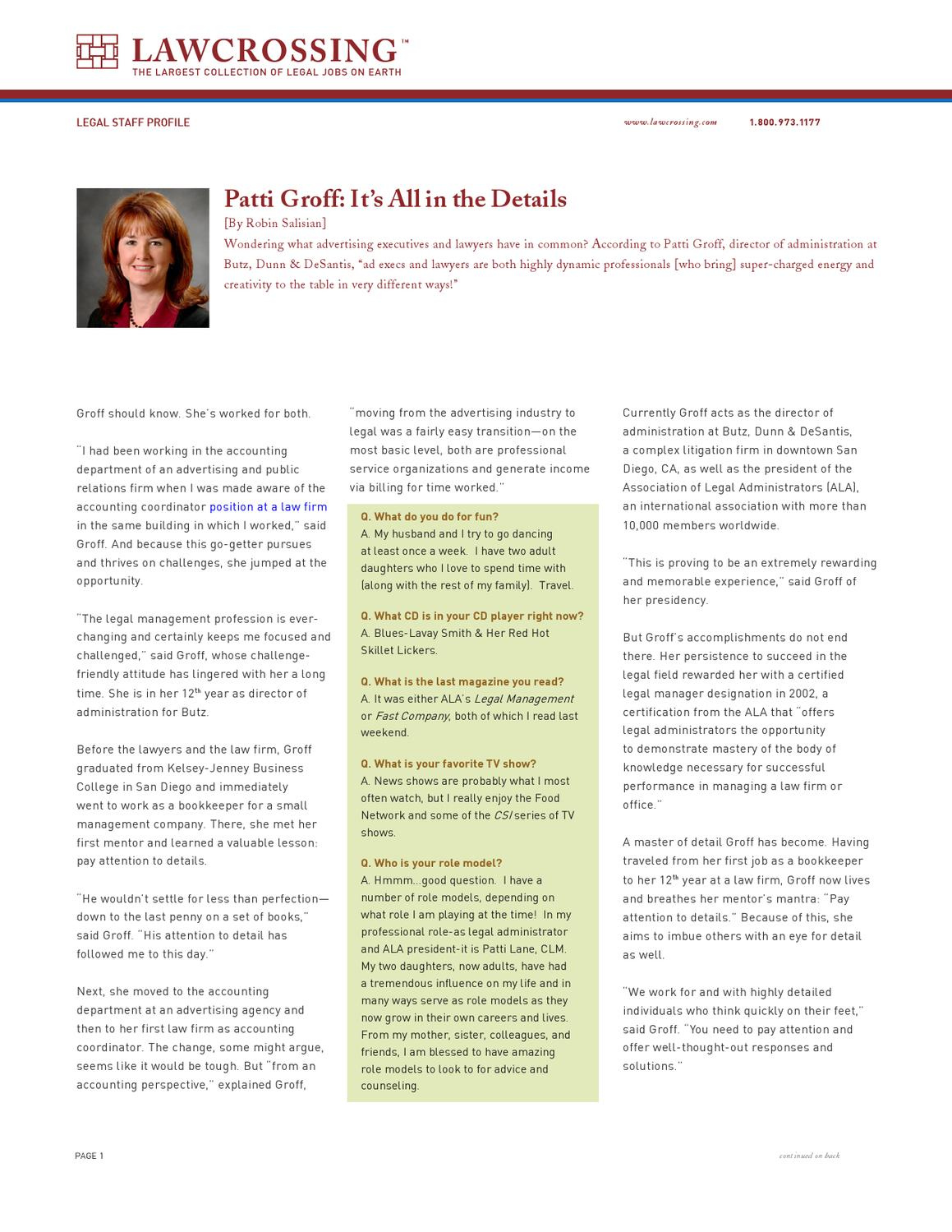Patti Groff: It's All in the Details by Roger Croft - issuu