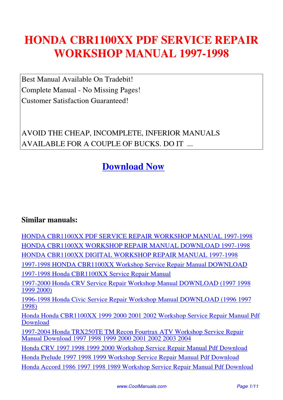 honda cbr1100xx service repair workshop manual 1997 1998. Black Bedroom Furniture Sets. Home Design Ideas