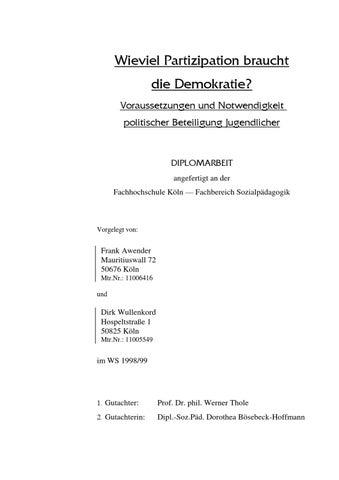 Wieviel Partizipation braucht die Demokratie? by Frank Awender - issuu