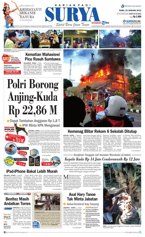 E Paper Surya Edisi 23 Januari 2013 By Harian Issuu Rkb Tegal Madu Mongso