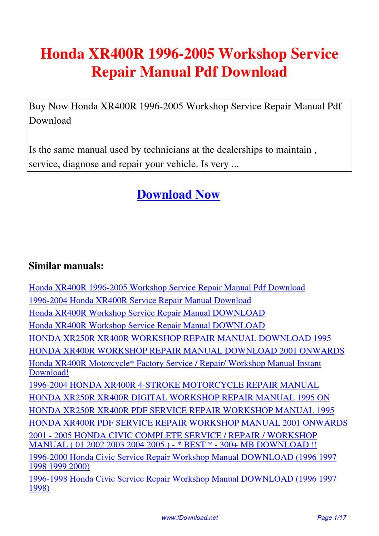 honda xr400r 1996 2005 workshop service repair manual by. Black Bedroom Furniture Sets. Home Design Ideas