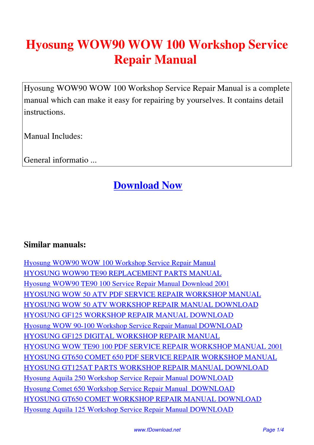 Hyosung Wow90 Wow 100 Workshop Service Repair Manual By Fu