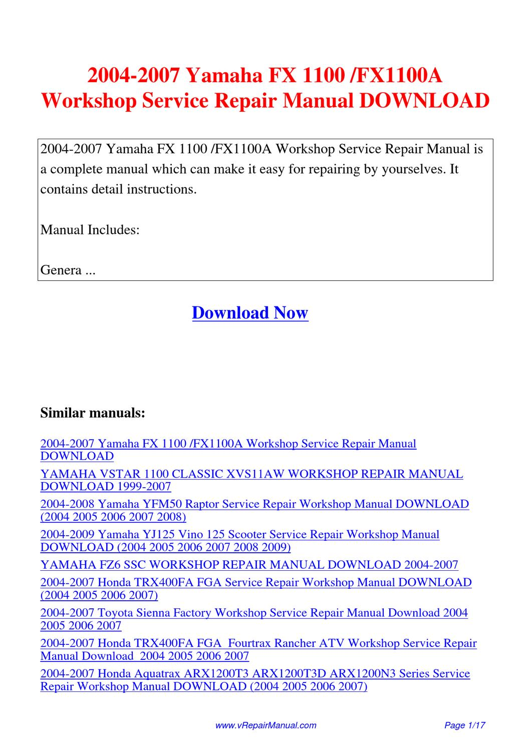 2004-2007_Yamaha_FX_1100_FX1100A_Workshop_Service_Repair_Manual by Yuan  Wang - issuu