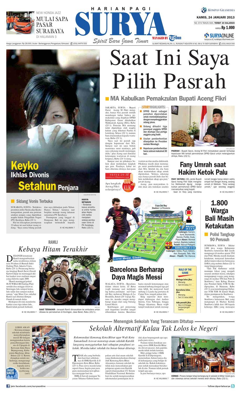 E Paper Surya Edisi 24 Januari 2013 By Harian Issuu Edie Pink Top Leux Studio Merah Muda M