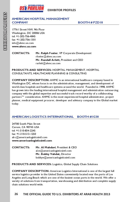 Arab health 2013 guide to u s exhibitors by kallman for 1776 i street nw 9th floor washington dc 20006