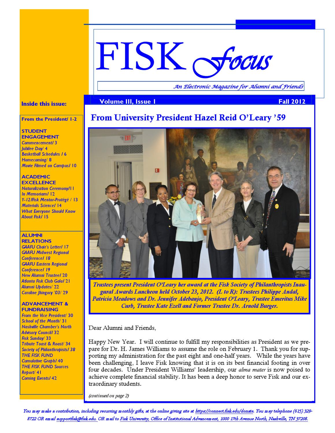 Fisk Focus Vol  3, Issue 1 by Fisk Young Alumni Association