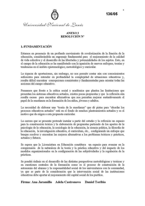 Licenciatura en Educación - UNLa - Anexo 1 by ramon benitez - issuu