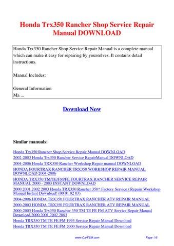 honda trx 350 service manual