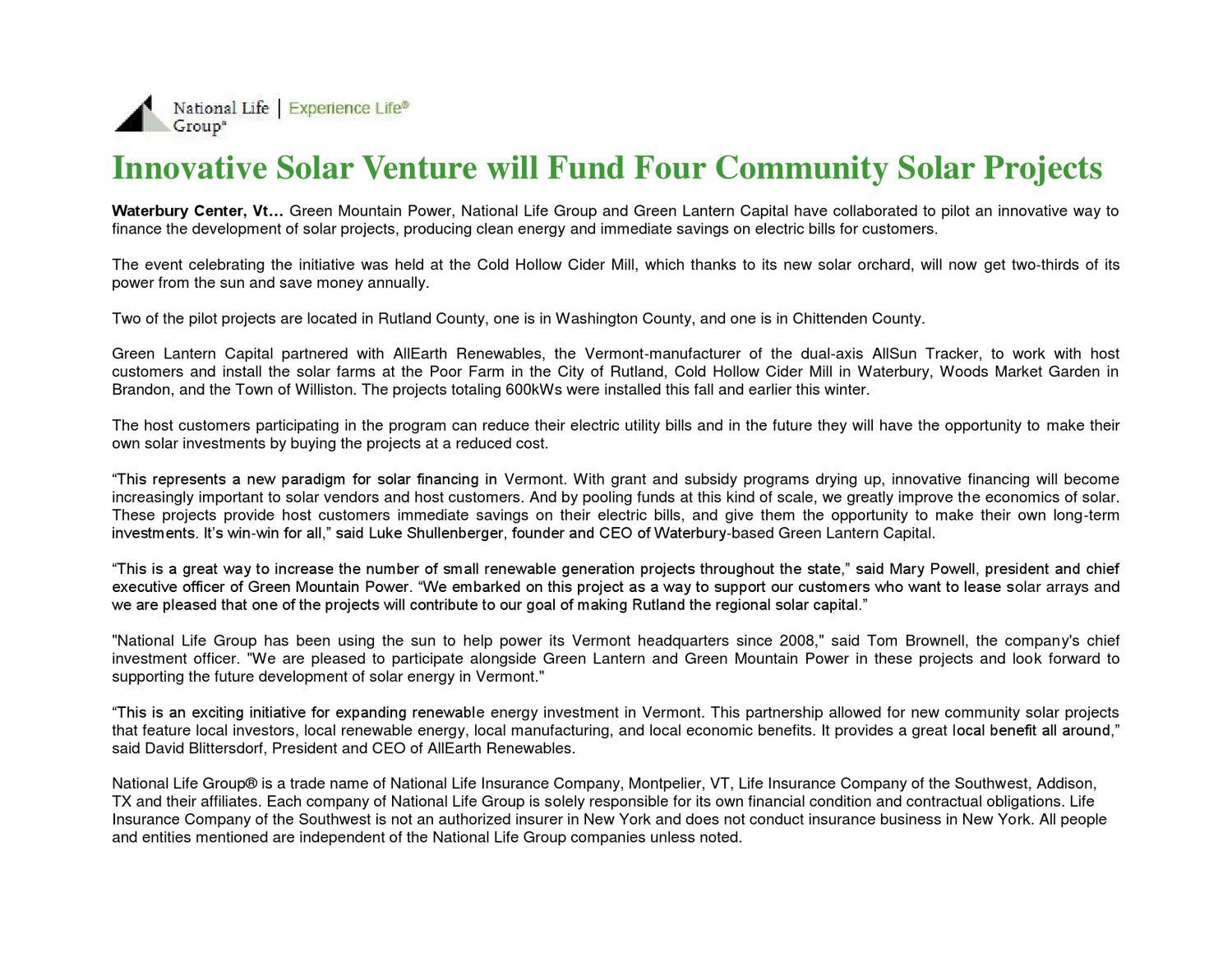 National Life Group innovative Solar Power Venture