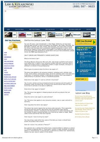 California Lemon Law >> California Lemon Law Faq By Calvert Adrien Issuu