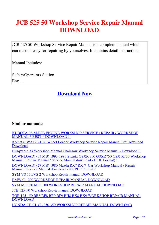 Jcb 525 50 Workshop Service Repair Manual By Fu Juan