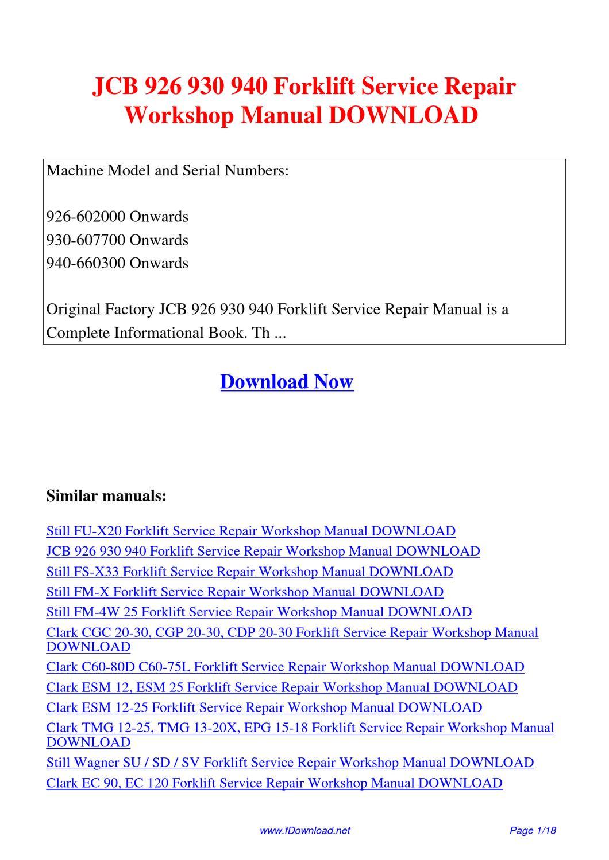 JCB_926_930_940_Forklift_Service_Repair_Workshop_Manual by Fu Juan - issuu