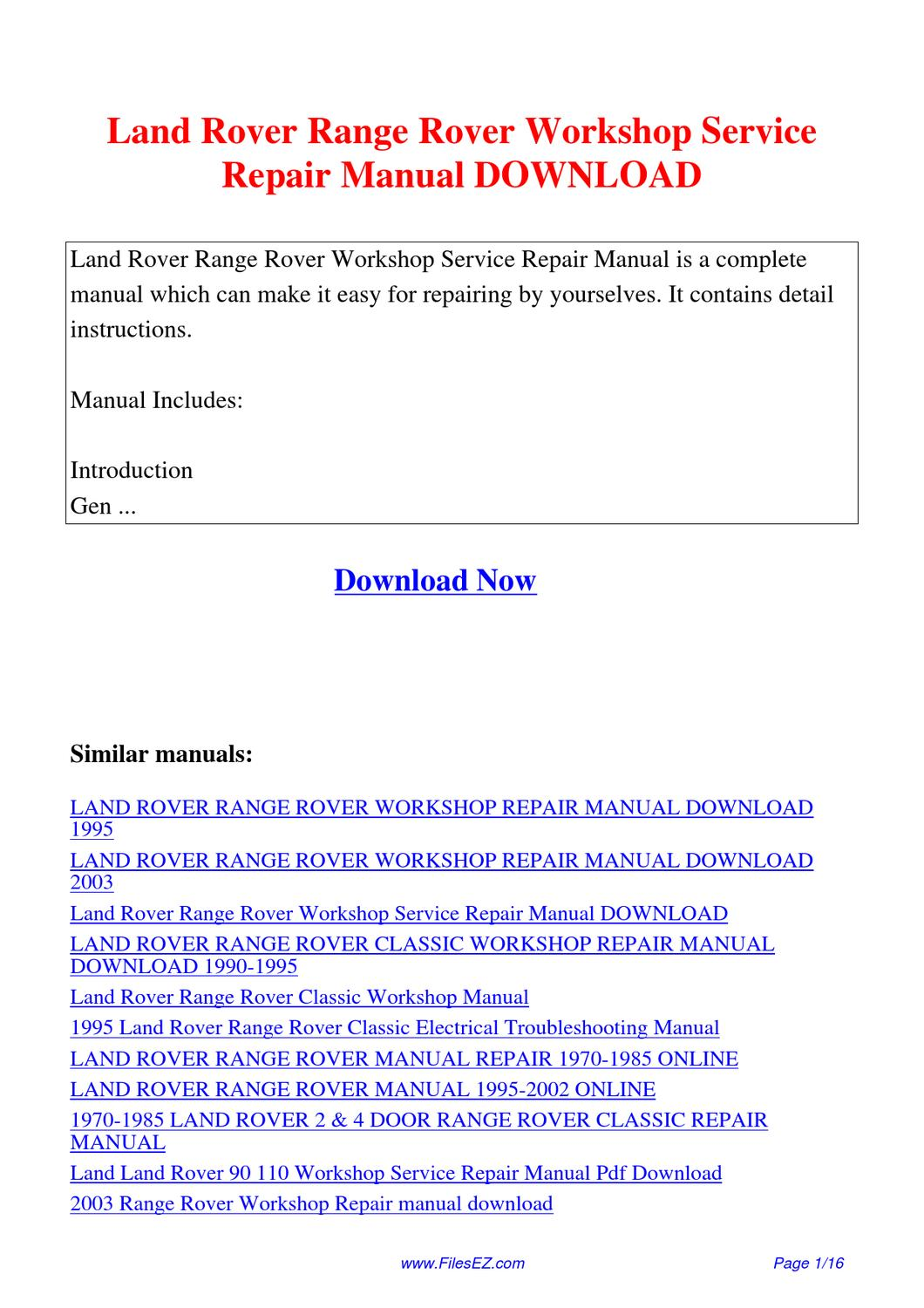 Land_Rover_Range_Rover_Workshop_Service_Repair_Manual by Yang Rong - issuu
