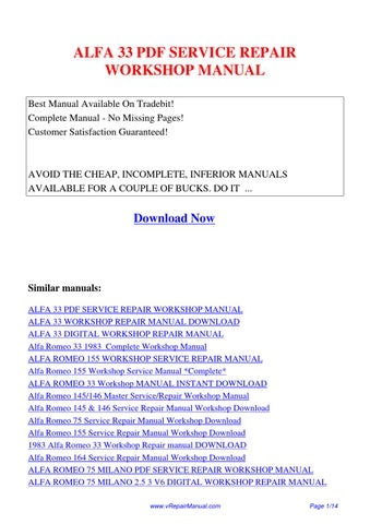 Alfa33servicerepairworkshopmanual by huang luan issuu alfa 33 pdf service repair workshop manual best manual available on tradebit complete manual no missing pages customer satisfaction guaranteed fandeluxe Image collections
