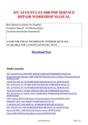 mv agusta f4 1000 s 1 1 2005 2006 factory service manual pdf