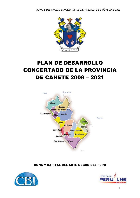 Plan de Desarrollo Concertado de Cañete 2008_2021 by Gonzalo Chong ...