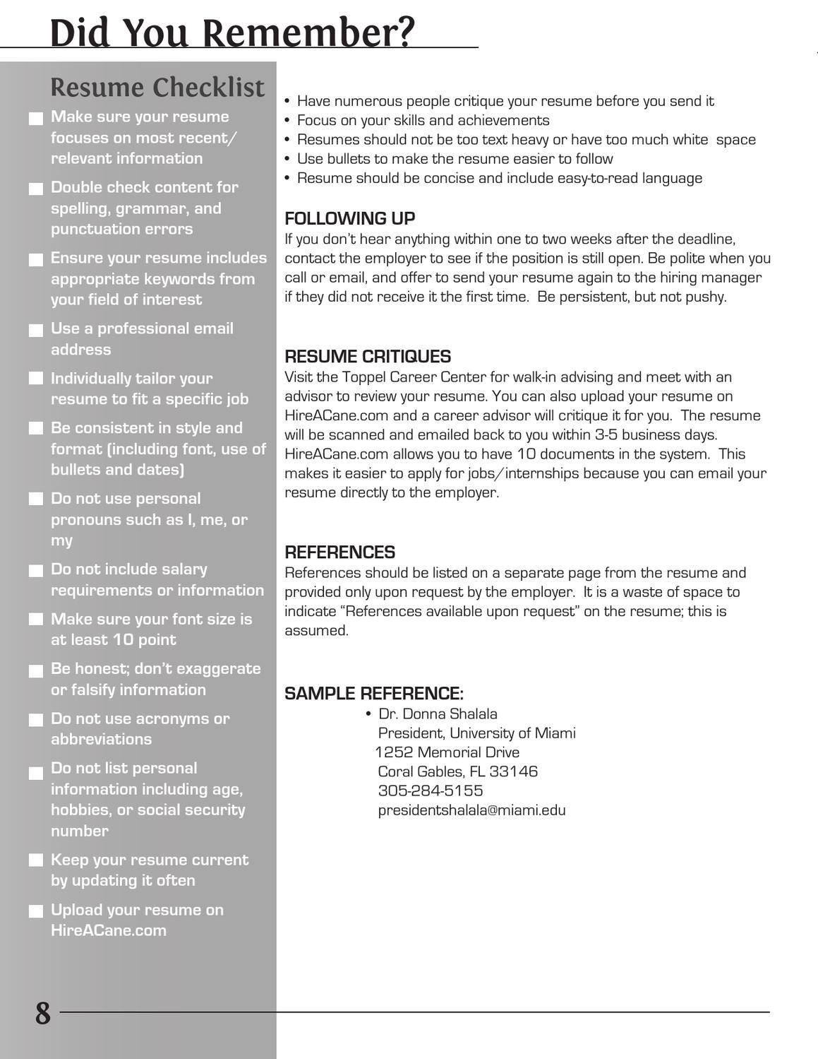 resume development guide by toppel career center